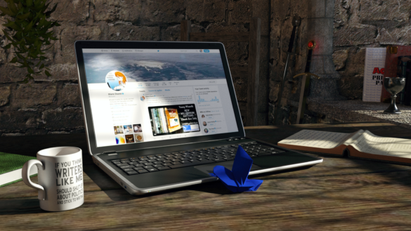 One of the writer's virtual workspaces