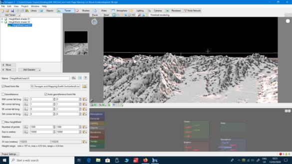 A Terragen work screen