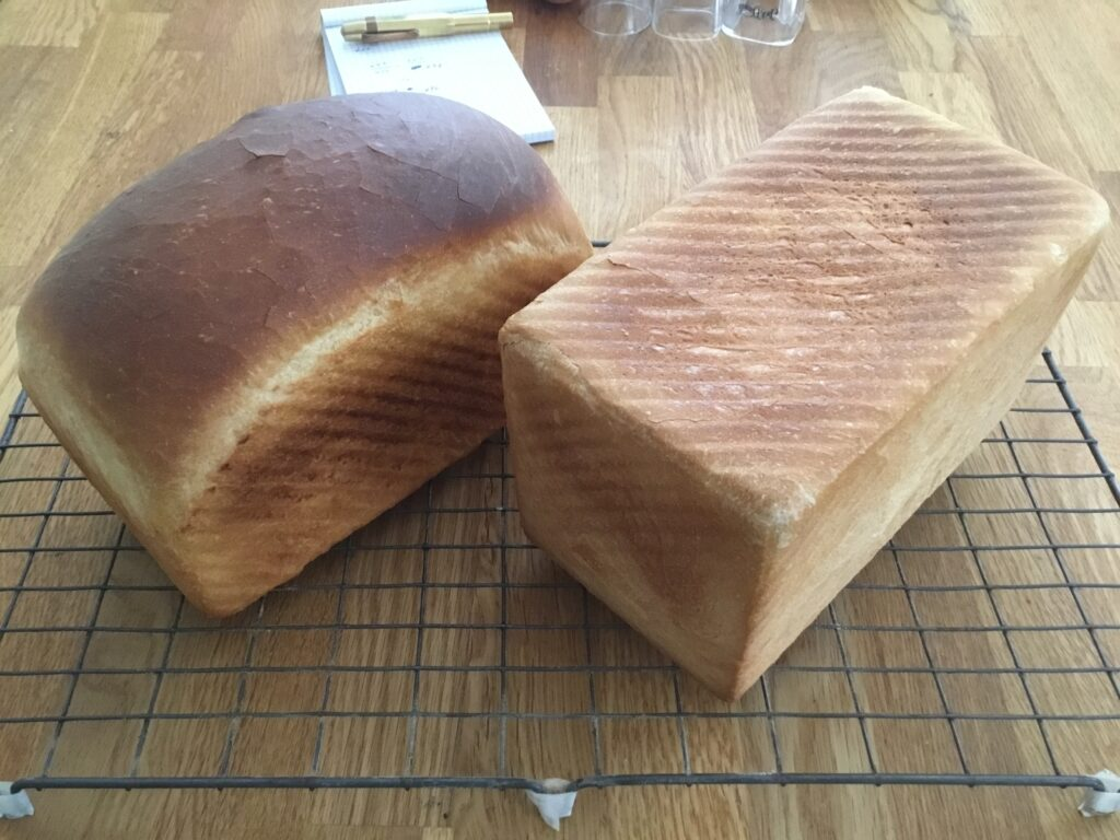 Two loaves baked in our new pans: without the lid, and with it